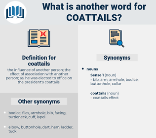 coattails, synonym coattails, another word for coattails, words like coattails, thesaurus coattails