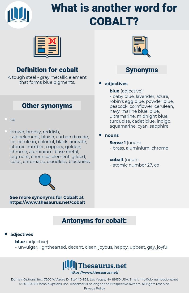 cobalt, synonym cobalt, another word for cobalt, words like cobalt, thesaurus cobalt
