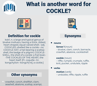 cockle, synonym cockle, another word for cockle, words like cockle, thesaurus cockle