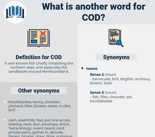 COD, synonym COD, another word for COD, words like COD, thesaurus COD