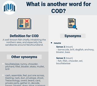 COD, synonym COD, another word for COD, words like COD, thesaurus COD