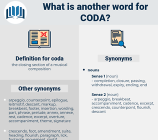 coda, synonym coda, another word for coda, words like coda, thesaurus coda
