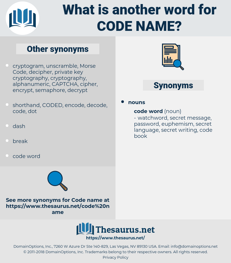 code name, synonym code name, another word for code name, words like code name, thesaurus code name