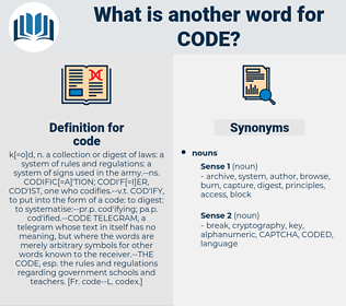 code, synonym code, another word for code, words like code, thesaurus code