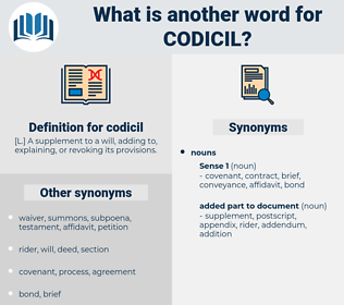 codicil, synonym codicil, another word for codicil, words like codicil, thesaurus codicil