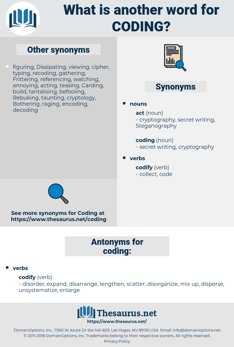 coding, synonym coding, another word for coding, words like coding, thesaurus coding