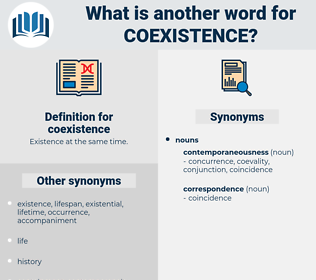 coexistence, synonym coexistence, another word for coexistence, words like coexistence, thesaurus coexistence