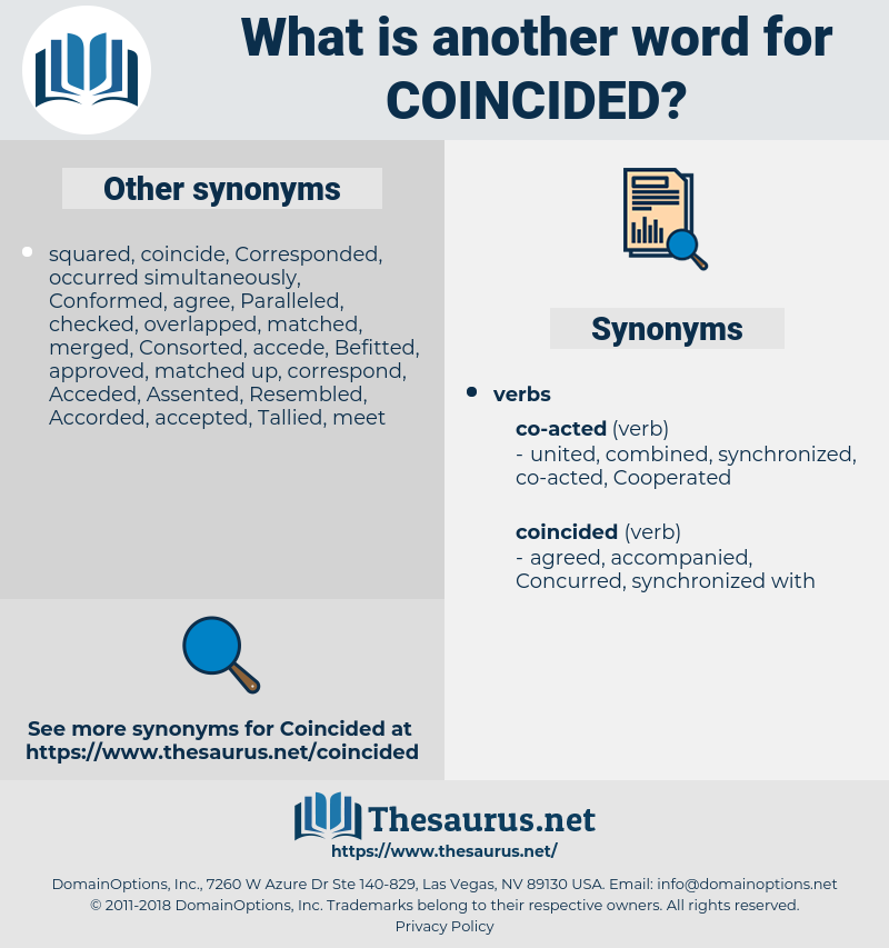 Coincided, synonym Coincided, another word for Coincided, words like Coincided, thesaurus Coincided