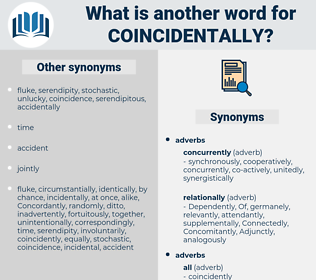 coincidentally, synonym coincidentally, another word for coincidentally, words like coincidentally, thesaurus coincidentally