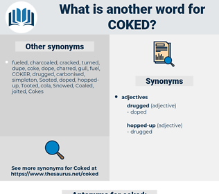 coked, synonym coked, another word for coked, words like coked, thesaurus coked