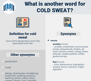 cold sweat, synonym cold sweat, another word for cold sweat, words like cold sweat, thesaurus cold sweat