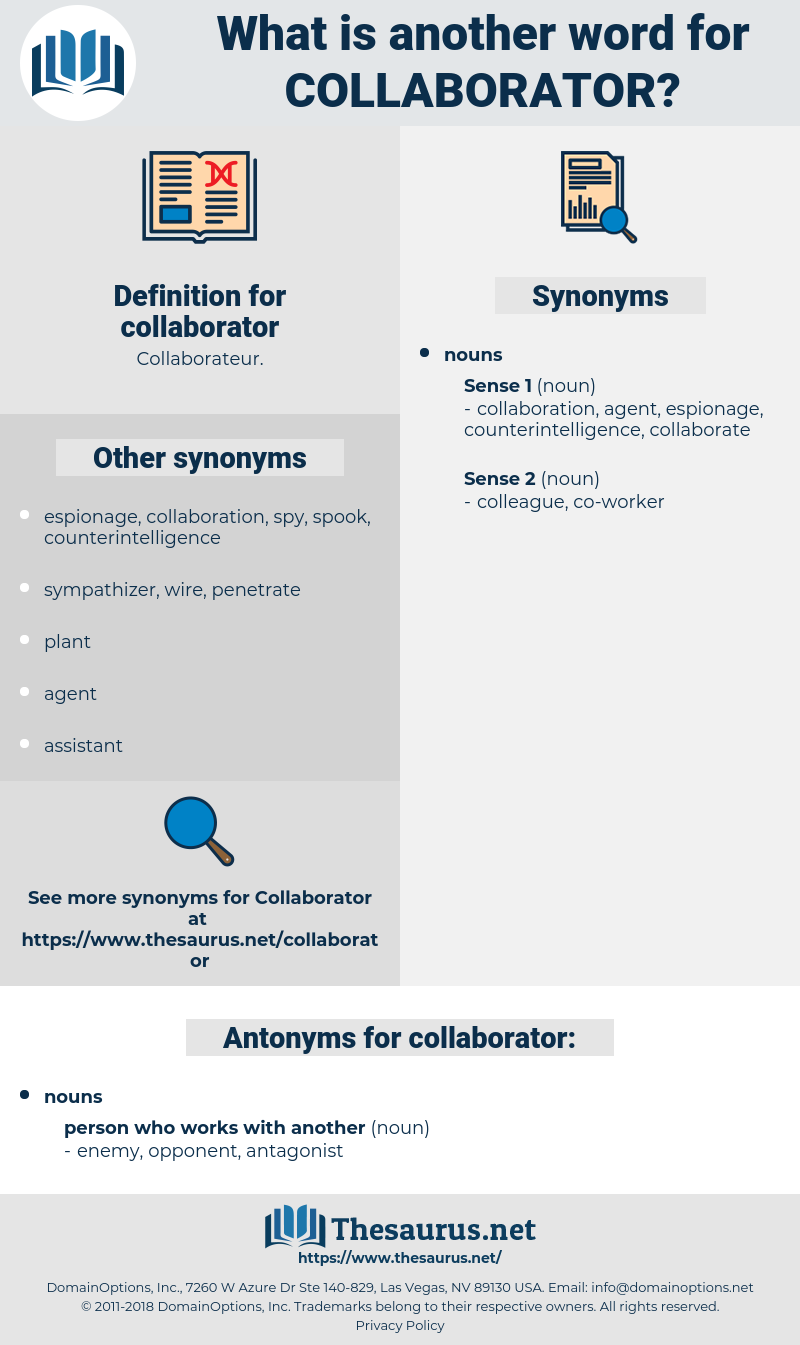 collaborator, synonym collaborator, another word for collaborator, words like collaborator, thesaurus collaborator