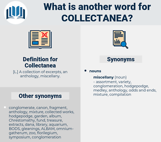 Collectanea, synonym Collectanea, another word for Collectanea, words like Collectanea, thesaurus Collectanea