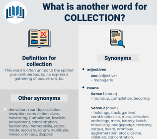 collection, synonym collection, another word for collection, words like collection, thesaurus collection