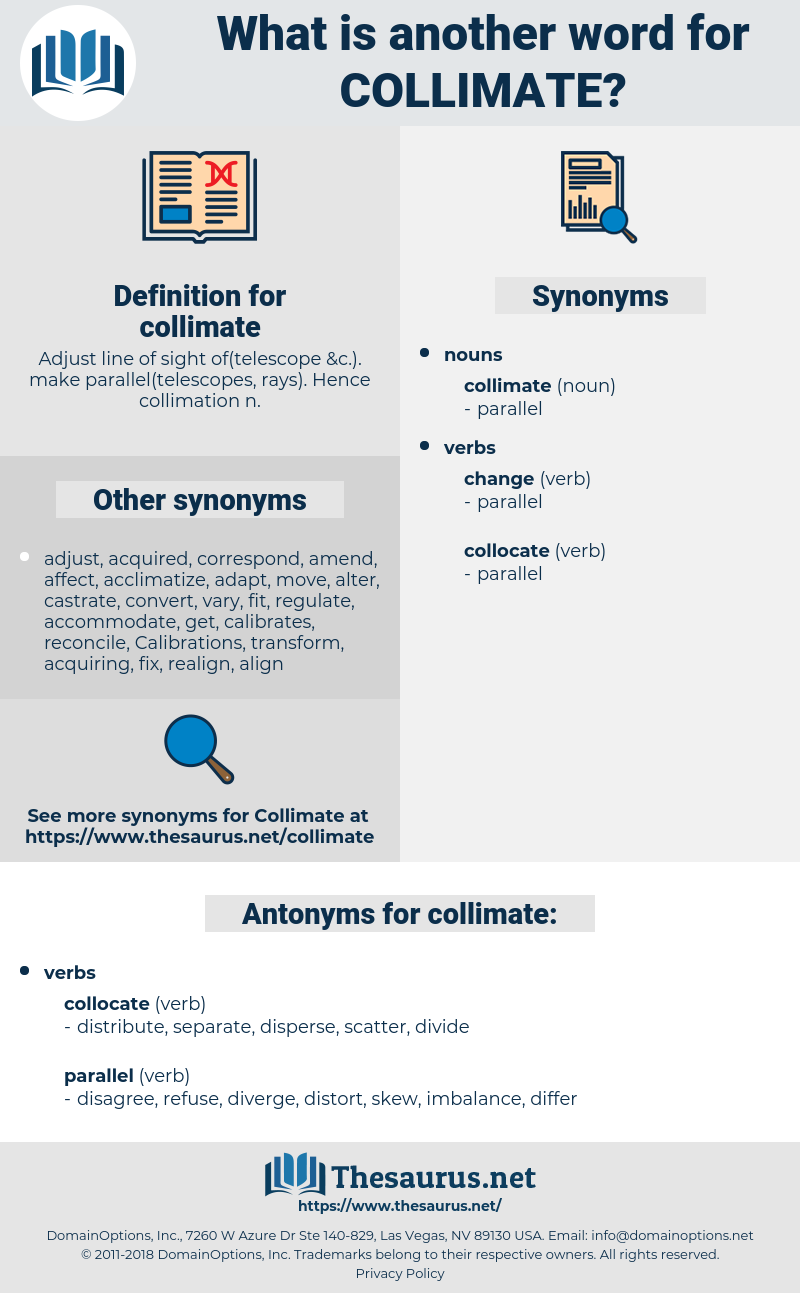 collimate, synonym collimate, another word for collimate, words like collimate, thesaurus collimate