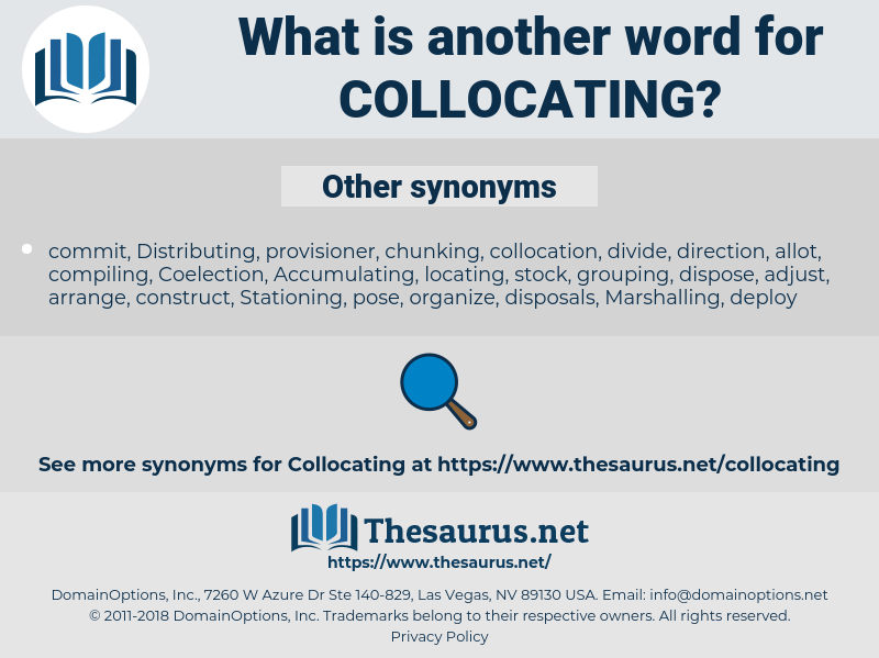 Collocating, synonym Collocating, another word for Collocating, words like Collocating, thesaurus Collocating