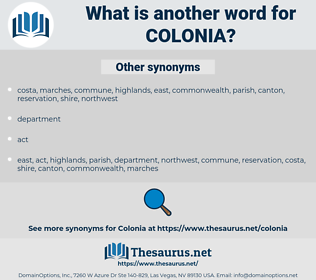 colonia, synonym colonia, another word for colonia, words like colonia, thesaurus colonia