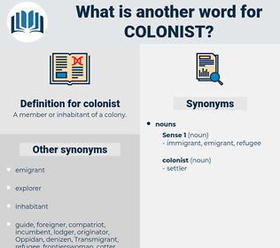colonist, synonym colonist, another word for colonist, words like colonist, thesaurus colonist