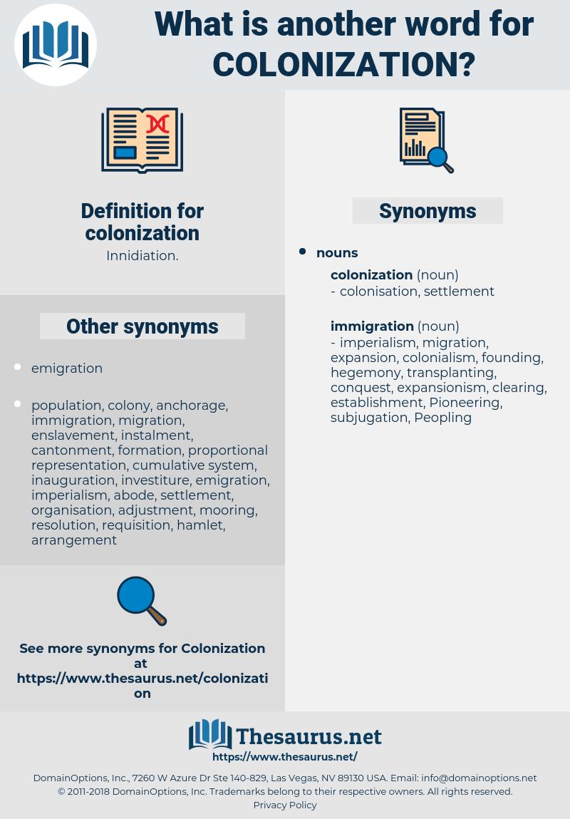 colonization, synonym colonization, another word for colonization, words like colonization, thesaurus colonization