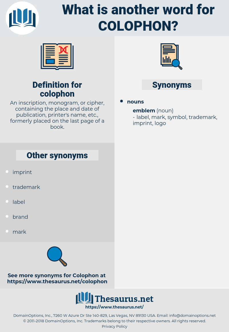 colophon, synonym colophon, another word for colophon, words like colophon, thesaurus colophon