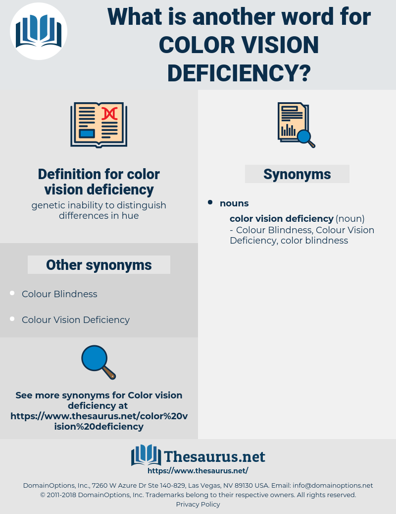 color vision deficiency, synonym color vision deficiency, another word for color vision deficiency, words like color vision deficiency, thesaurus color vision deficiency