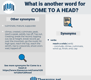 come to a head, synonym come to a head, another word for come to a head, words like come to a head, thesaurus come to a head
