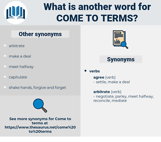 come to terms, synonym come to terms, another word for come to terms, words like come to terms, thesaurus come to terms