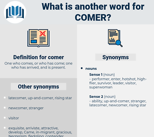 comer, synonym comer, another word for comer, words like comer, thesaurus comer