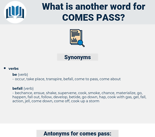 comes pass, synonym comes pass, another word for comes pass, words like comes pass, thesaurus comes pass