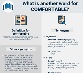 comfortable, synonym comfortable, another word for comfortable, words like comfortable, thesaurus comfortable