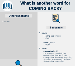 coming back, synonym coming back, another word for coming back, words like coming back, thesaurus coming back