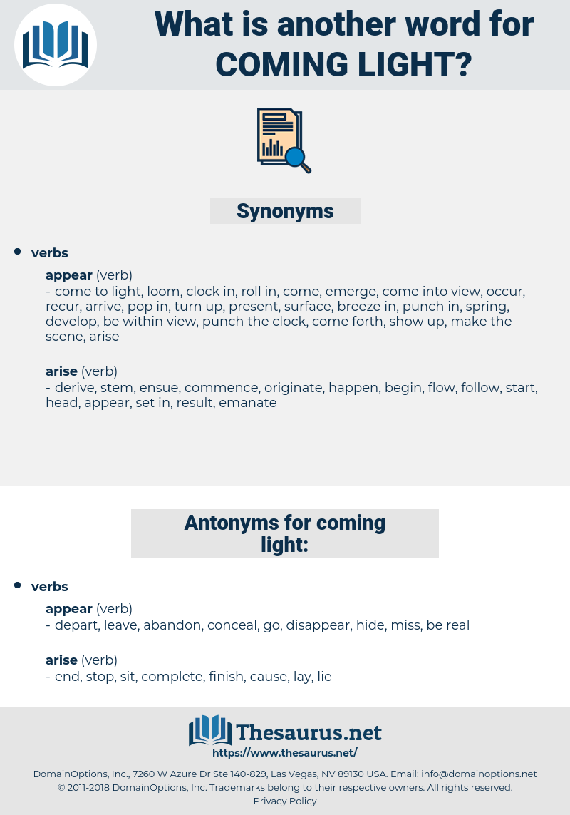 coming light, synonym coming light, another word for coming light, words like coming light, thesaurus coming light