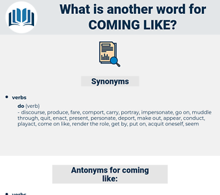 coming like, synonym coming like, another word for coming like, words like coming like, thesaurus coming like