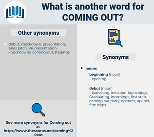 coming out, synonym coming out, another word for coming out, words like coming out, thesaurus coming out