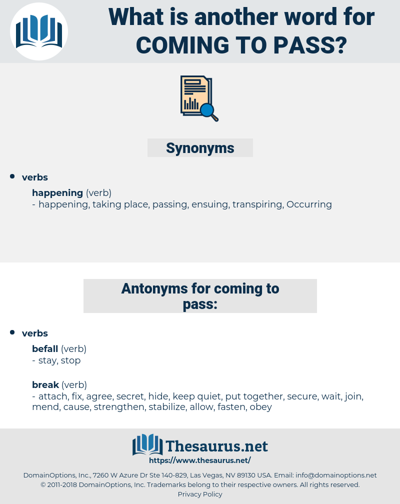 coming to pass, synonym coming to pass, another word for coming to pass, words like coming to pass, thesaurus coming to pass