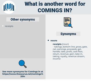 comings in, synonym comings in, another word for comings in, words like comings in, thesaurus comings in