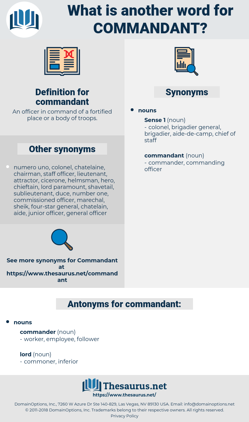 commandant, synonym commandant, another word for commandant, words like commandant, thesaurus commandant
