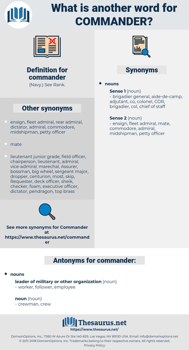 commander, synonym commander, another word for commander, words like commander, thesaurus commander