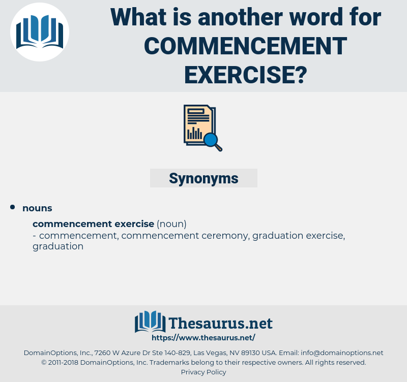 Synonyms for COMMENCEMENT EXERCISE - Thesaurus.net