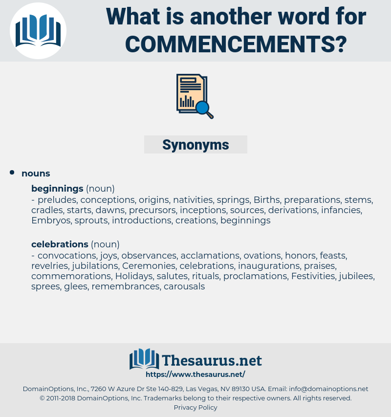 commencements, synonym commencements, another word for commencements, words like commencements, thesaurus commencements