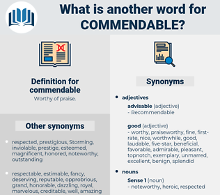 commendable, synonym commendable, another word for commendable, words like commendable, thesaurus commendable