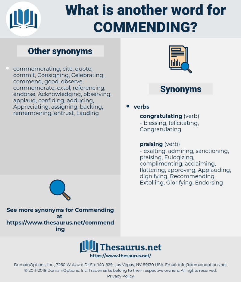 Commending, synonym Commending, another word for Commending, words like Commending, thesaurus Commending