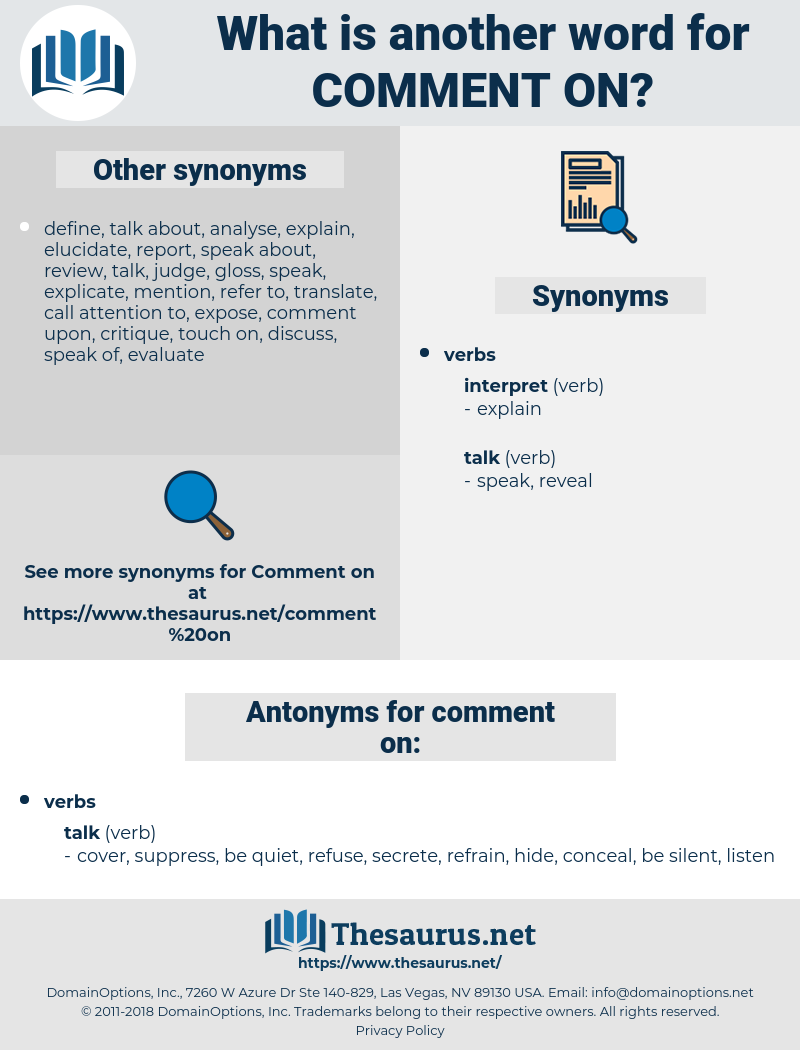 comment on, synonym comment on, another word for comment on, words like comment on, thesaurus comment on