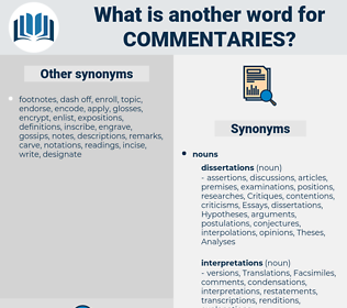 Commentaries, synonym Commentaries, another word for Commentaries, words like Commentaries, thesaurus Commentaries