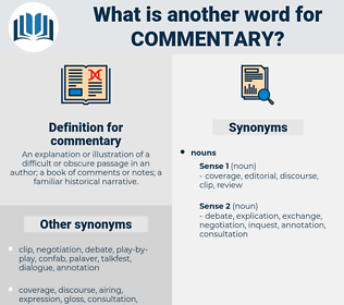 commentary, synonym commentary, another word for commentary, words like commentary, thesaurus commentary