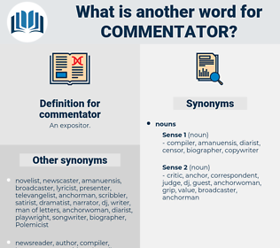 commentator, synonym commentator, another word for commentator, words like commentator, thesaurus commentator