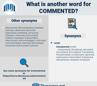 Commented, synonym Commented, another word for Commented, words like Commented, thesaurus Commented