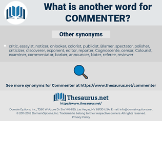 Commenter, synonym Commenter, another word for Commenter, words like Commenter, thesaurus Commenter