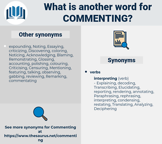 Commenting, synonym Commenting, another word for Commenting, words like Commenting, thesaurus Commenting