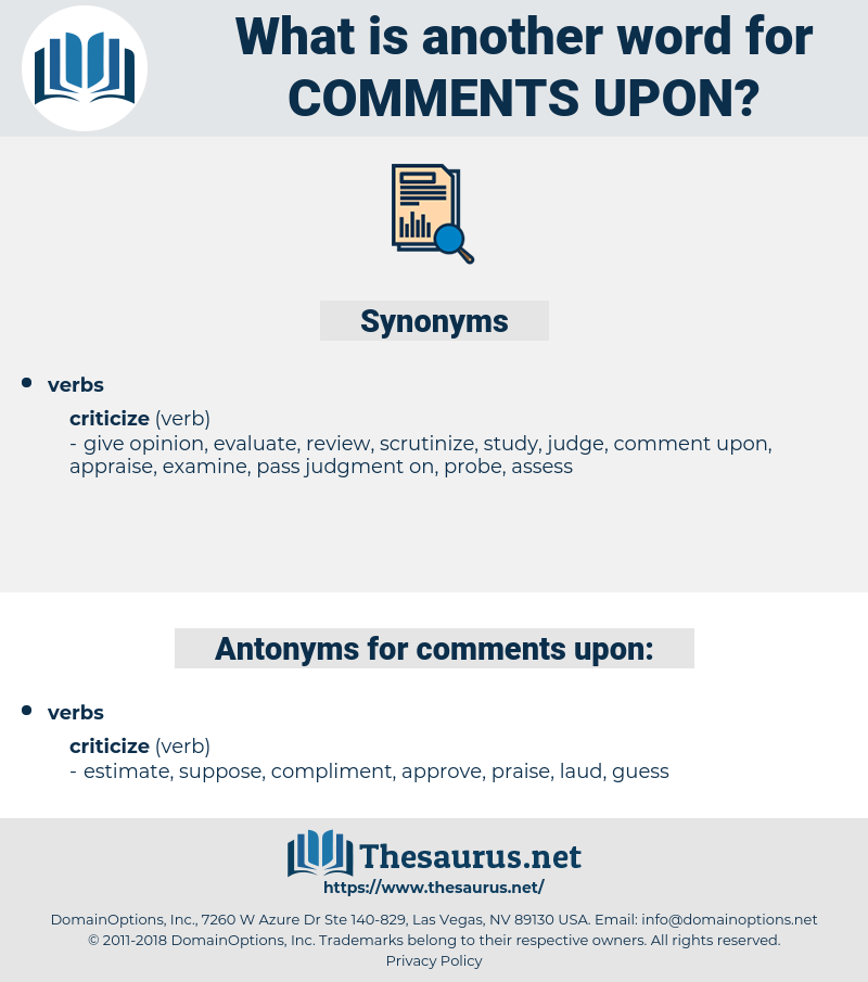 comments upon, synonym comments upon, another word for comments upon, words like comments upon, thesaurus comments upon
